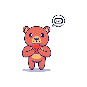 스마트폰으로 메시지를 받는 귀여운 곰