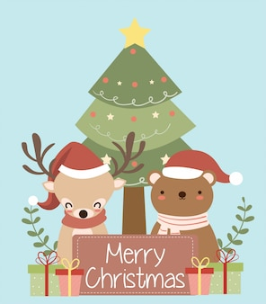 Cute bear and reindeer with santa hat  for christmas greeting card
