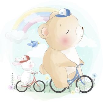 Милый медведь на велосипеде с маленьким зайчиком