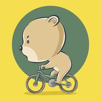 귀여운 곰 타고 자전거 만화 아이콘 그림