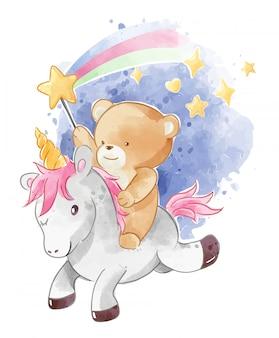 Cute bear riding unicorn with sparkling star