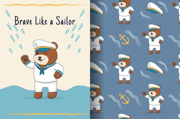 Cute bear sailor seamless pattern and card
