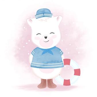 Cute bear sailor and swim ring, hand drawn illustration