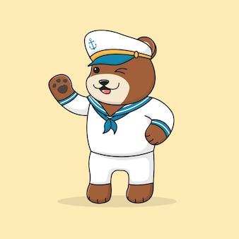 Cute bear sailor