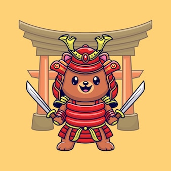 Cute bear samurai warrior cartoon vector icon illustration. animal nature icon concept isolated premium vector. flat cartoon style