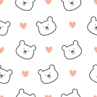 Cute bear seamless pattern background
