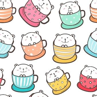 Cute bear seamless pattern