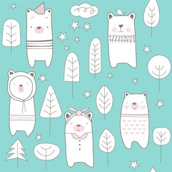 귀여운 곰 원활한 패턴