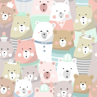 Cute bear seamless pattern