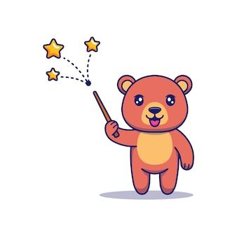 Милый медведь показывает фокус
