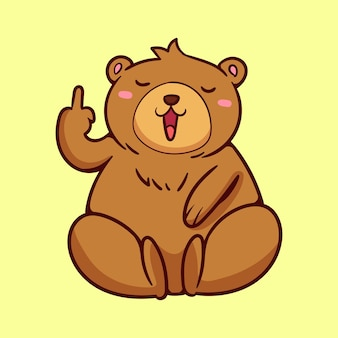 Cute bear showing the fuck you symbol