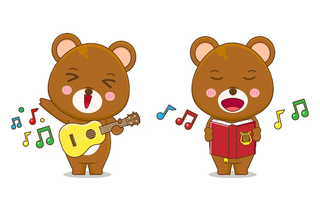 Cute bear singing and playing guitar isolated