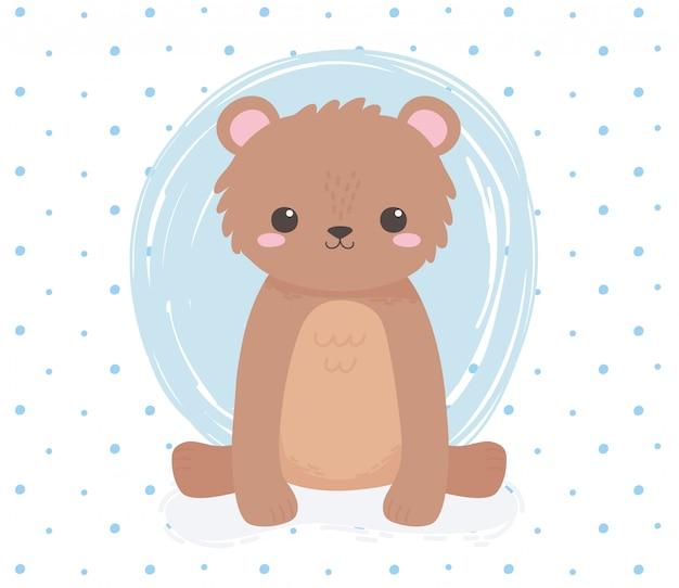 かわいいクマ座って動物立って漫画青いドットベクトルイラスト