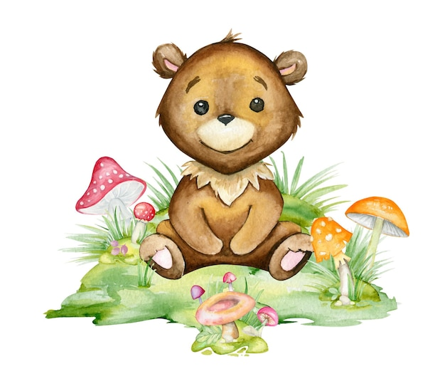 Cute, bear, sitting in a clearing, surrounded by mushrooms