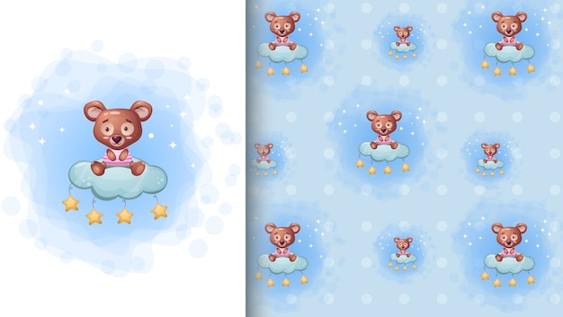 Cute bear sitting on the cloud star cartoon illustration and seamless pattern