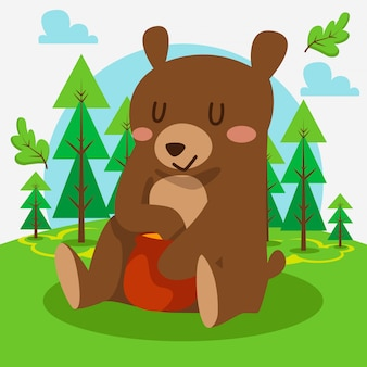 Cute bear sitting in the forest