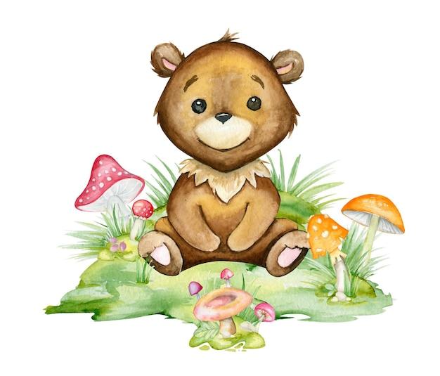 Милый, мишка, сидит на поляне, в окружении грибов