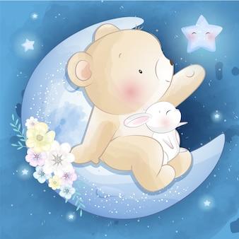 Милый медведь сидит на луне с маленьким зайчиком