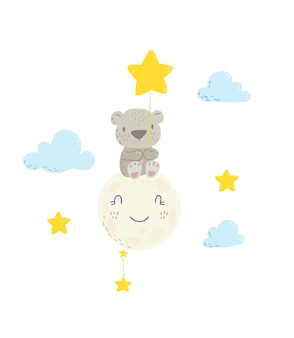 Cute bear sitting on the moon and holding star balloon