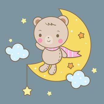 Cute bear sitting on moon