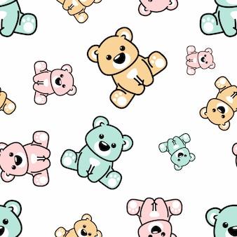 Cute bear sitting seamless pattern