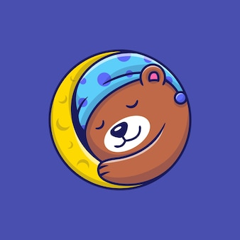 Cute bear sleeping on moon cartoon illustration.