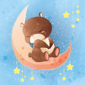 Cute bear sleeping on the moon