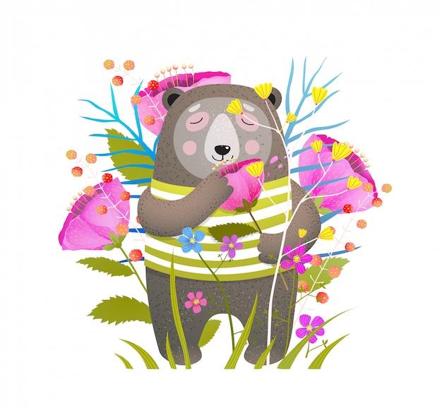 Cute bear smelling flower flat  illustration