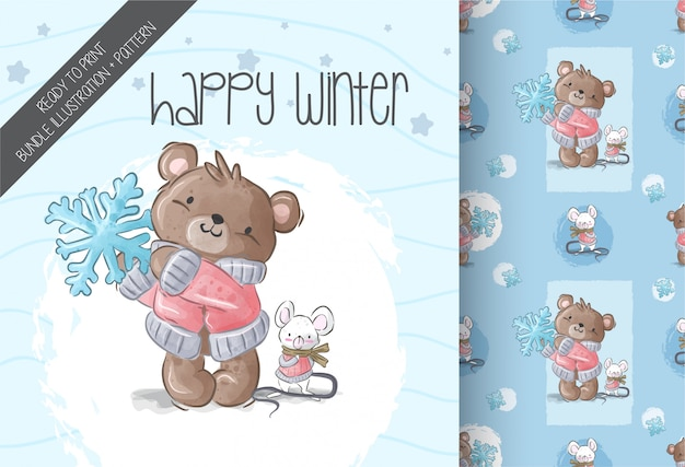 Cute  bear snowflake with baby mouse illustration seamless pattern