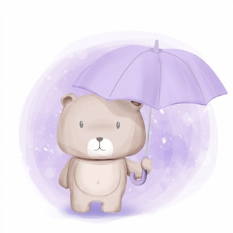 Cute bear stand and held umbrella