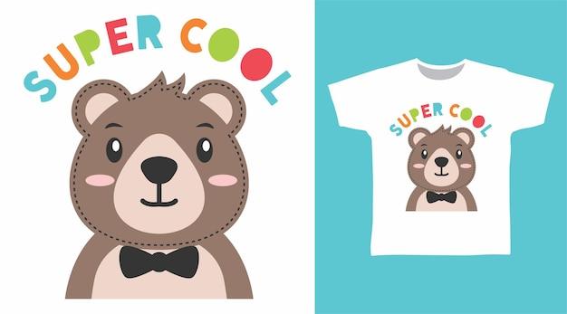 かわいいクマの超クールなtシャツのデザイン