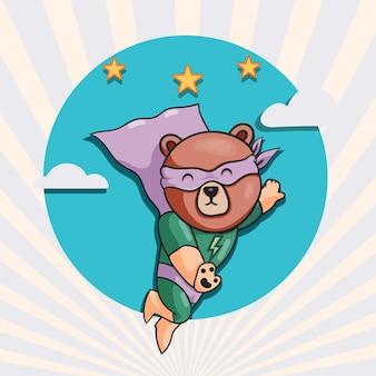 귀여운 곰 슈퍼 영웅 만화 그림입니다. 동물 영웅 개념 고립 된 평면 만화