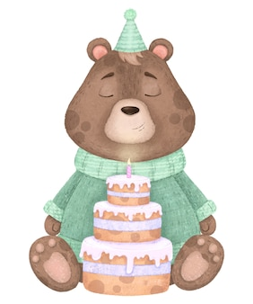 Cute bear in sweater, in cap and with cake with candle, birthday illustration.