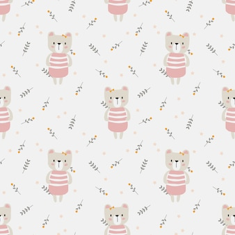 Cute bear and sweet tiny flower seamless pattern.