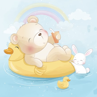 Милый медведь плавает с маленьким зайчиком