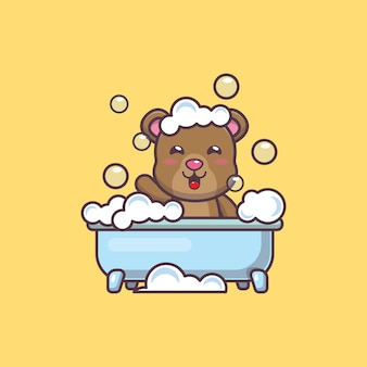 かわいいクマの浴槽で泡風呂を取っている漫画ベクトルイラスト