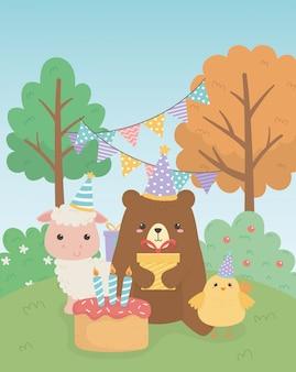생일 파티 장면에서 병아리와 귀여운 곰 테디와 양
