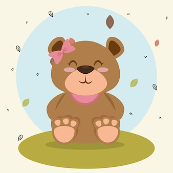 Cute bear teddy animal character