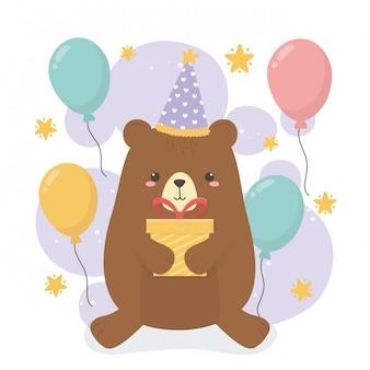생일 파티 장면에서 귀여운 곰 테디
