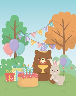 Cute bear teddy and rabbit in birthday party scene