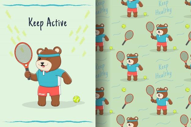Cute bear tennis seamless pattern and card