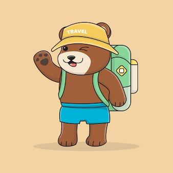 バックパック付きのかわいいクマの旅人