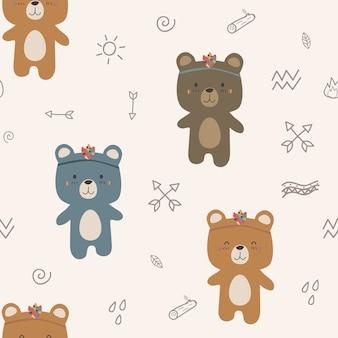 Cute bear tribal boho cartoon doodle seamless pattern
