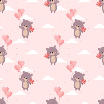 Cute bear and valentine balloon seamless pattern.