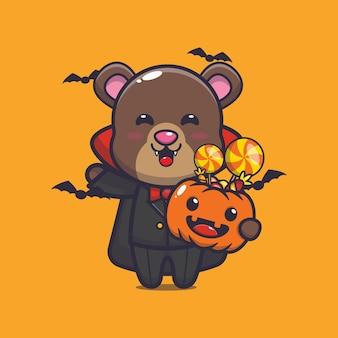 Cute bear vampire holding halloween pumpkin