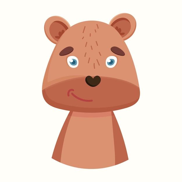 かわいいクマ。フラットスタイルのベクトル図