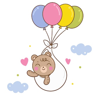 Cute bear vector on pastel balloon cartoon