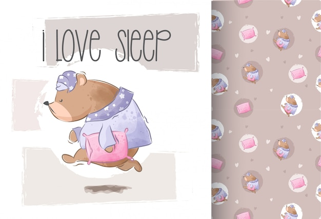 Cute bear wants to sleep seamless pattern