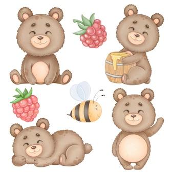 Милый медведь акварель картинки изолированные