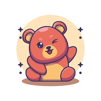 손을 흔들며 귀여운 곰